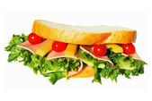 Sandwich with ham and lettuce — Stock Photo