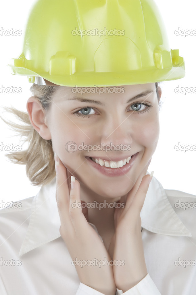 Attractive young engineer over a white background — Stock Photo #2685363