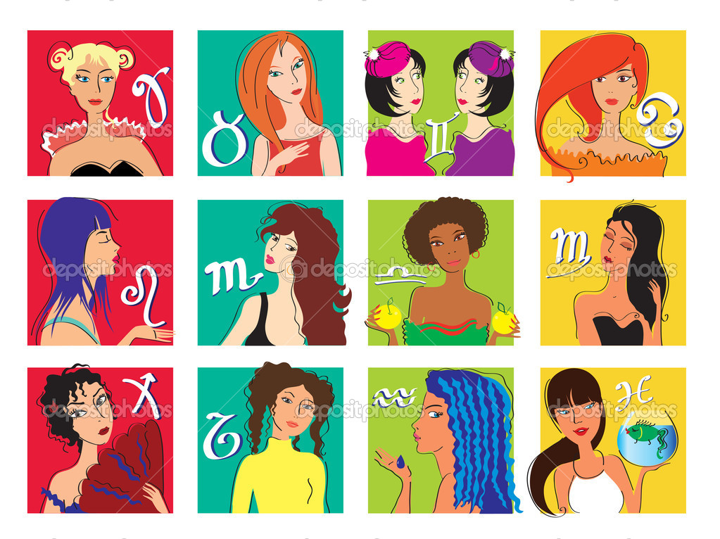 Vector set of horoskop icons Zodiac girls — Stock Vector #2613508