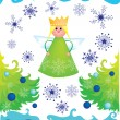 Royalty-Free Stock Vector Image: Christmas angel with snowflakes