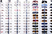 Eyeglasses display shelves — Stock Photo