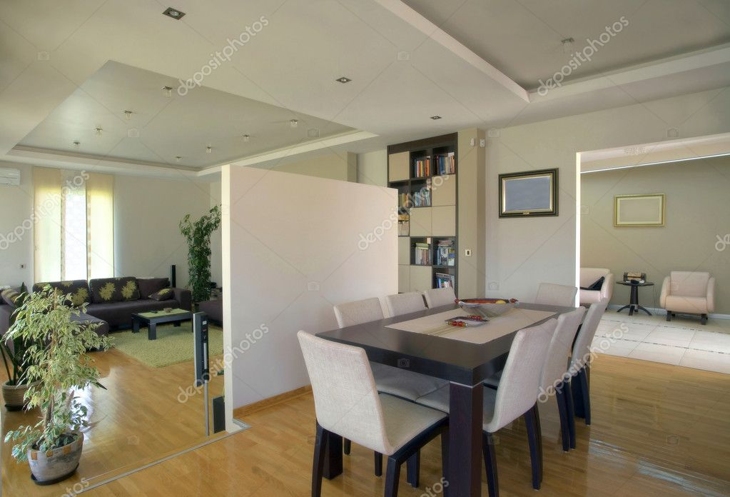 Interior of a modern house rooms in white with furniture. — Stock Photo #2652385
