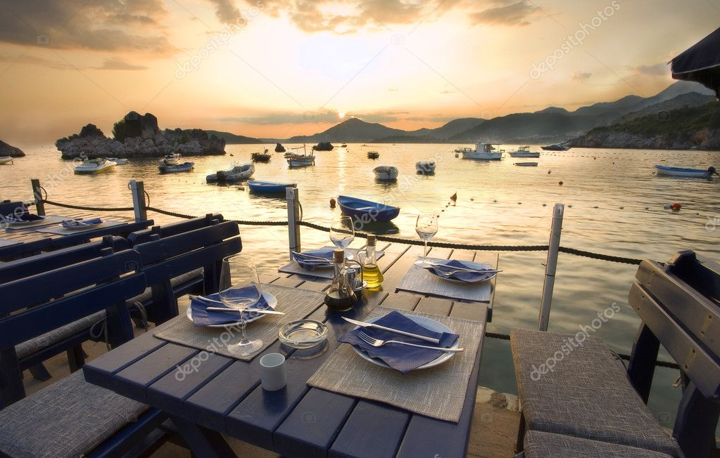 Restaurant exteriors Montenegro seaside summer season. — Stock Photo #2667116