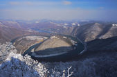 Winter season views from fields and meadows and forests and mountains. The West Morava river, Serbia. — Stock Photo