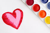 Heart and paintbox — Stock Photo