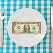 Royalty-Free Stock Photo: Dollar on plate