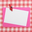 Card on tablecloth — Stock Photo #2650564