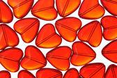 Rött glas hjärtan — Stockfoto