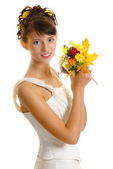 Bride with autumn bouquet — Foto de Stock