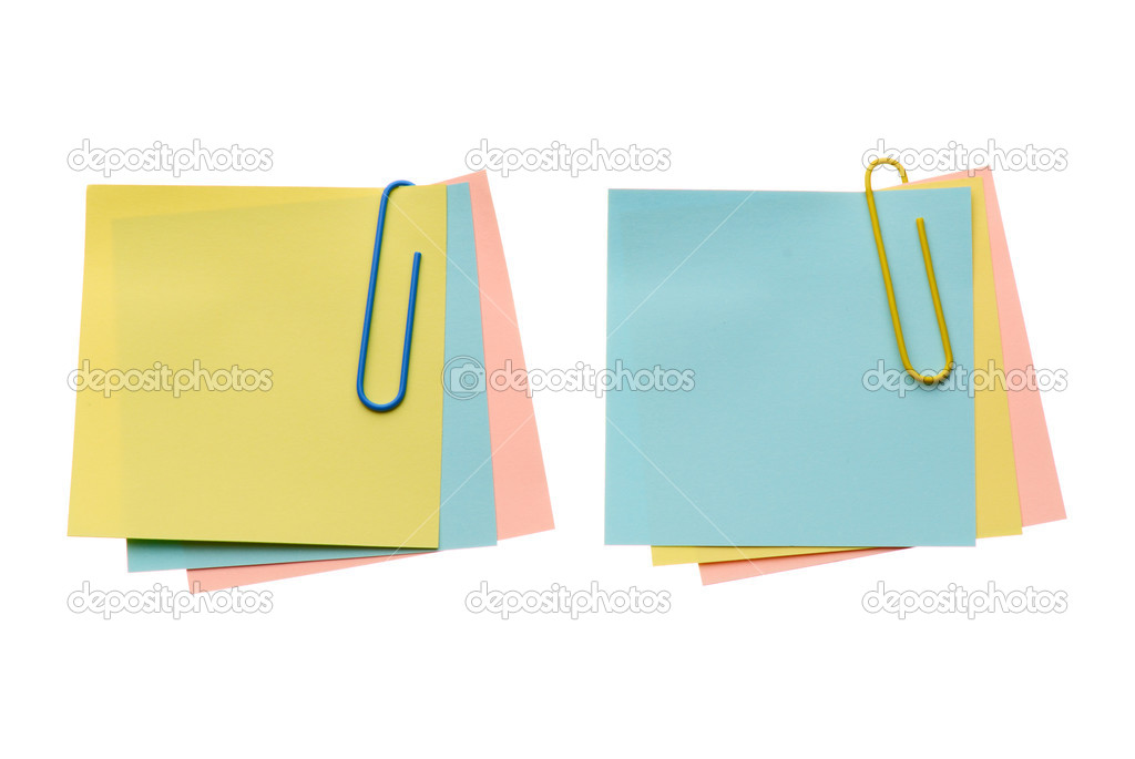 Two batch notes with paper-clip isolated on white background  Stock Photo #2650969