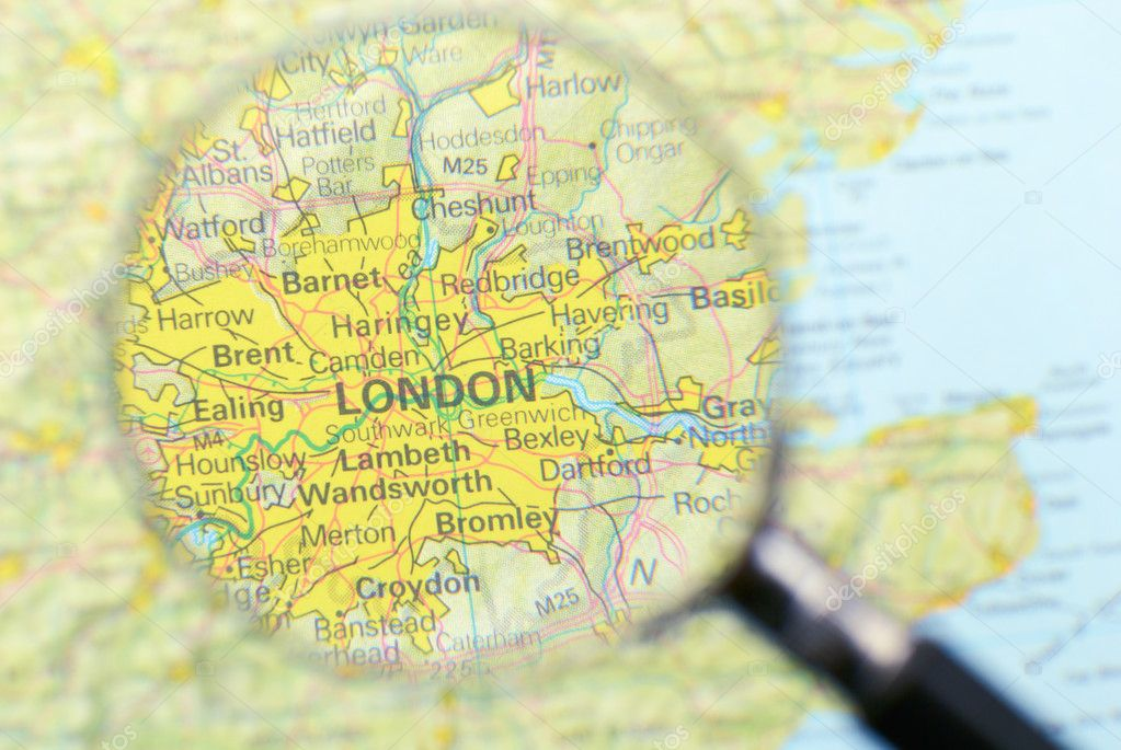 Magnifying glass over the map of London  Stock Photo #2652605