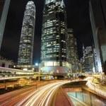Traffic through downtown in Hong kong — Stock Photo