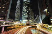 Traffic through downtown in Hong kong — Stock fotografie