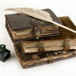 Stock Photo: Ancient books and ink