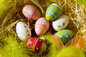 Easter eggs in a nest — Stock Photo