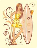 Girl on the beach — Stock Vector