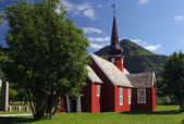 Red wood church in Norway — Stock Photo