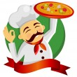 Pizza chef. - Stok Vektör