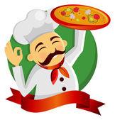 Pizza chef. — Stock Vector