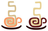 Vector image of coffee cup stylized aztec ornament Isolated