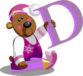 VectorSmile bear with alphabet letter B in color 01