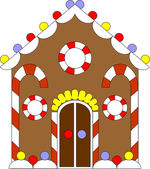 Vector Gingerbread house color 02