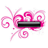 Pink glossy grunge rectangular vector button with floral elements