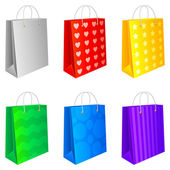 Set of 6 colored shopping bags isolated on white background