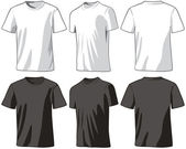 T-shirts front half-turned and back Vector