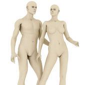 Manichini uomo e donna, isolati su bianco