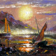 thumbnail of Sea landscape with sailing vessels