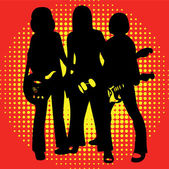 Silhouettes of musicians with guitars on the yellow-red background