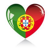 Vector heart with Portugal flag texture isolated on a white background