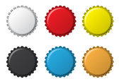 The colors bottlecaps on a white background