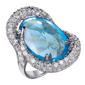Ring with gemstones isolated