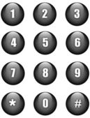 Aqua numbers black round buttons