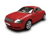 Izolované červené auto čelní pohled