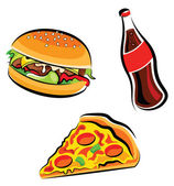 Vector illustration of various fast food (burger cola and pizza slice)