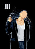 Vector illustration of brawny bald man with pistol on black background