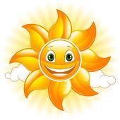 Cartoon happy sun Vector illustration