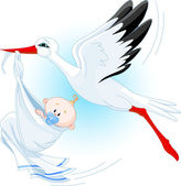 A cartoon vector illustration of a stork delivering a newborn baby boy