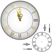 Old-fashioned wall clock with hands about midnight with black and white template