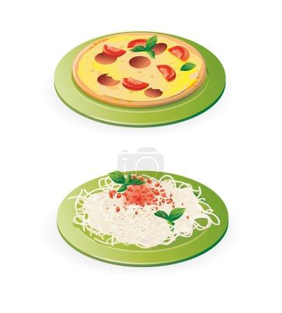 Постер, плакат: Italian meals pasta and pizza vector, холст на подрамнике