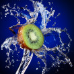 Kiwi in water splash