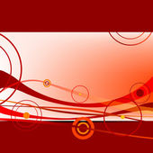 Red waves and circles abstract art illustration