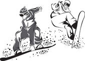 Black and white drawing of jumping snowboarders