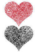 Heart shapes with fingerprint texture vector