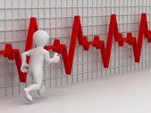 Esecuzione di uomini sullo sfondo dellheartbeat grafico. 3D