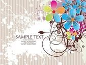Grungy background with colorful floral