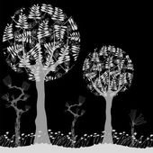 Black and white abstract trees